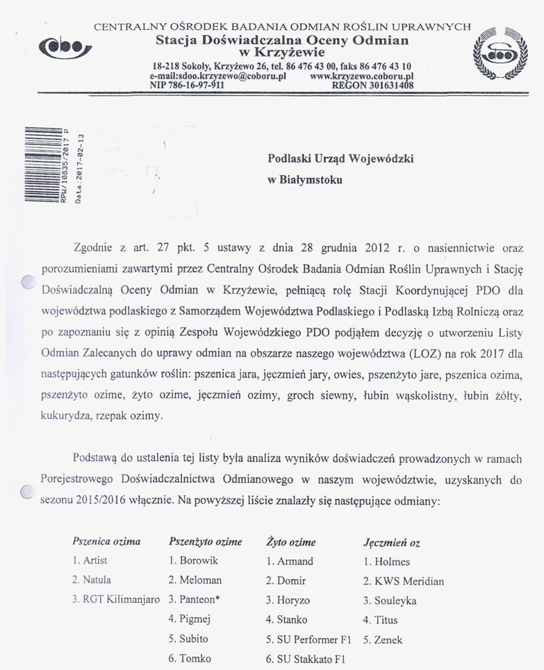 Lista odmian roślin zalecanych do uprawy na terenie woj. podlaskiego