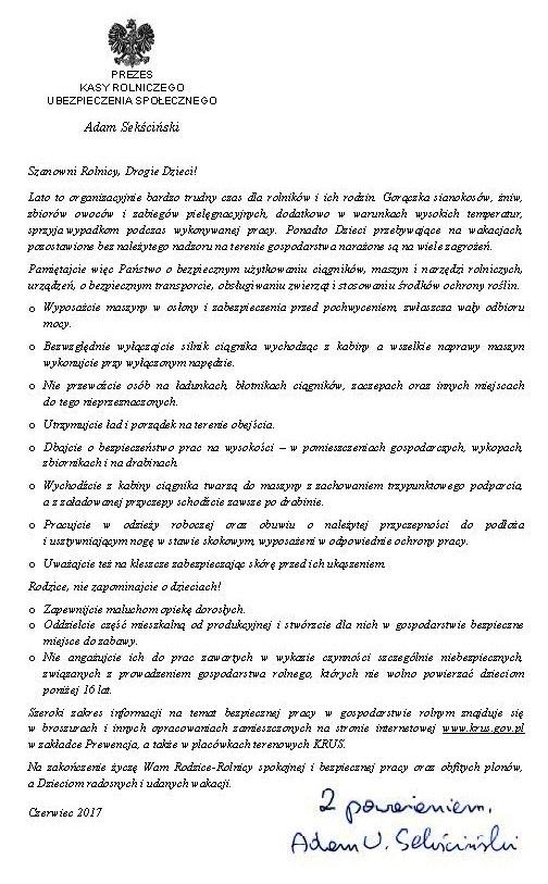 List prezesa KRUS w sprawie bezpieczeństwa pracy